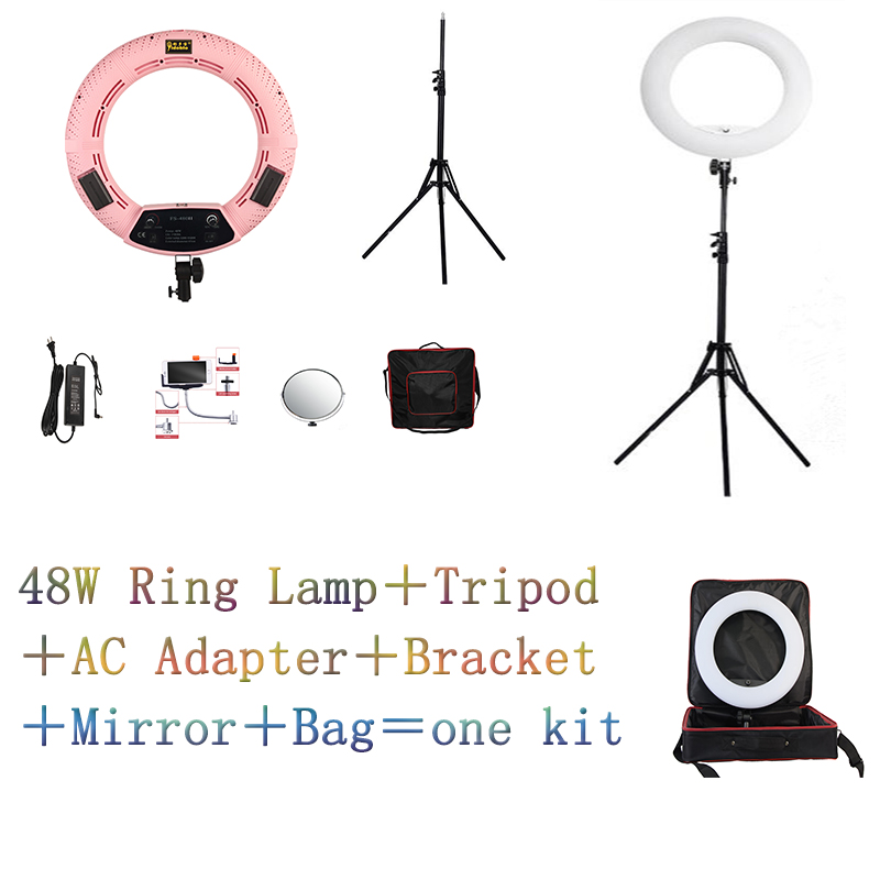 Yidoblo Pink FS 480II 5500K Dimmable Camera Photo Studio Phone Video 18 48W 480 LED Ring