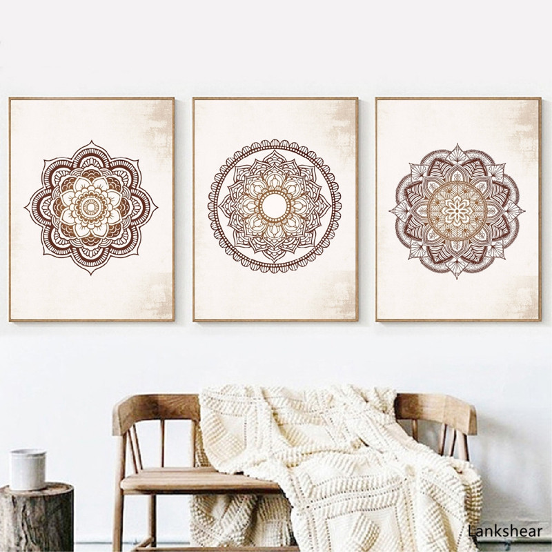 Wall Art Prints Brown Bedroom Wall Decor Mandala Brown Canvas Painting Wall Pictures Living Room Home Decor No Frame Artwork Buy At The Price Of 3 74 In Aliexpress Com Imall Com
