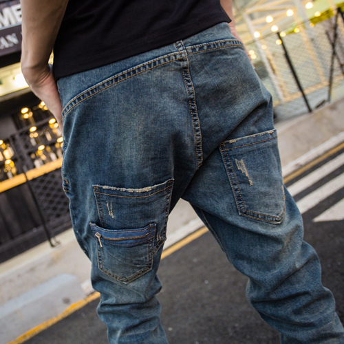 2020 Japanese Retro Harem Pants Jeans Men Loose Stretch Feet Trousers Casual Low Crotch Harem Jeans  Trousers
