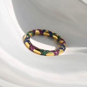 Image 3 - Sljely Mode Pure 925 Sterling Zilveren Sieraden Geel Goud Kleur Multicolor Zirkoon Kruisen Tribal Finger Ring Mana Collection