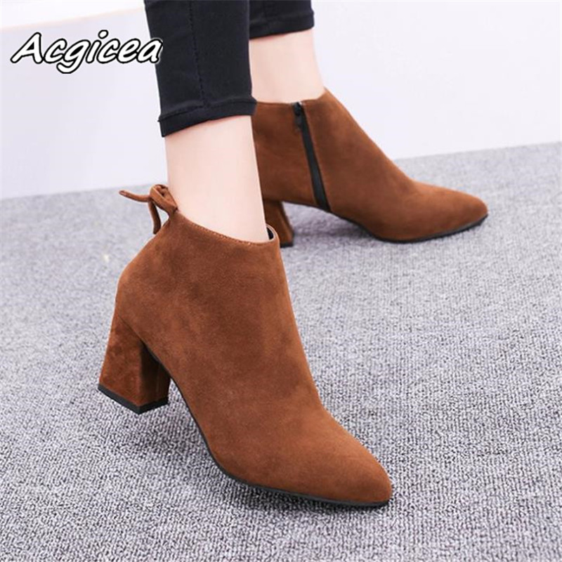 Pointed Toe High Heels Women Boots Basic Shoes Autumn And Winter Casual Female Ankle Boots Single Fashion snow boots 1