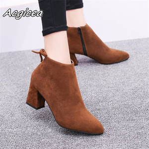 Women Boots Basic-Shoes High-Heels Winter Pointed-Toe Autumn Casual Fashion And No Ankle