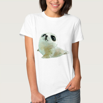 Lovely Puppy Dog Print Women T-shirts T Shirt Lady T Shirt 2019 Summer White Animal Print Women's T Shirts