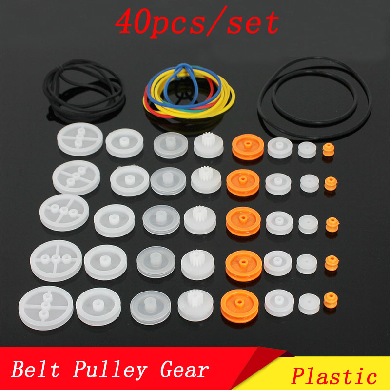 40pcs/Set Toy Motor Connection Gear Drive Belt <font><b>Pulley</b></font> Gearbox Connector 62A 92A 132A 182A 162A Transmission Pinion for DIY Robot image