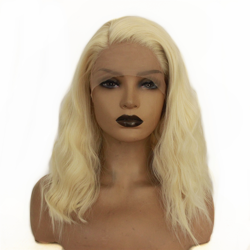 Natural Short Loose Wave Hair Lace Wigs with Baby Hair Blonde Bob Wig Heat Resistant Synthetic Lace Front Wigs for Black Women