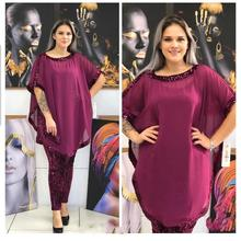 Charming Plus size Chiffon upper outer garment Match Sequins Pants African Women's Set African clothes For women