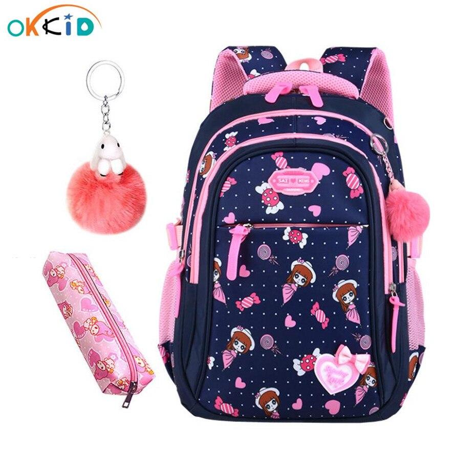 OKKID Girls School Bags Kids Waterproof Nylon Cartoon School Backpack Children Book Bag Cute Pen Pencil Case Christmas Gift Girl