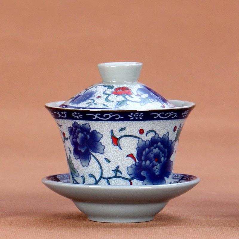 130ml /180ml Blue and White Porcelain Gaiwan Ceramic Tea Bowl Saucer Lid Set Jingdezhen Teaware Drinkware Porcelain Tea Tureen