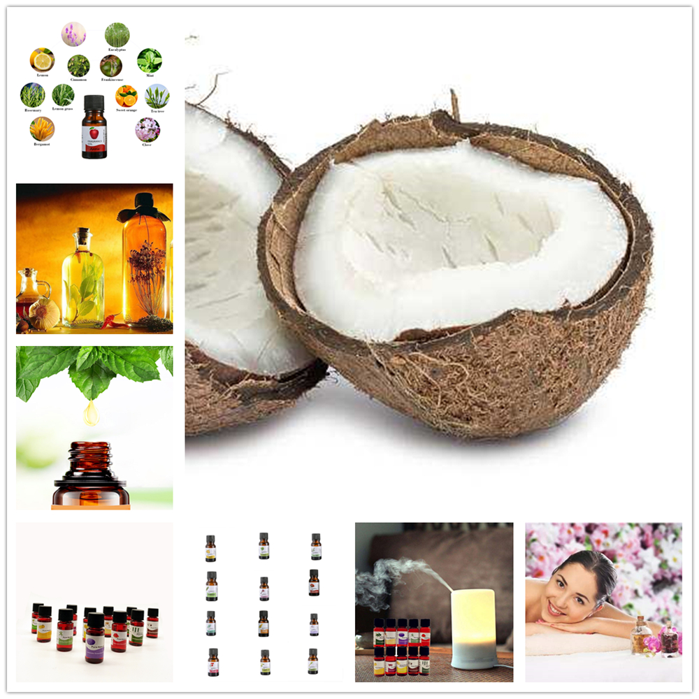 100% Pure Natural Coconut Essential Oils For Aromatherapy Diffusers Essential Oils Organic Body Relieve Stress Skin Care TSLM2