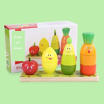 Drewniane bloczki owoce w stylu kreskówki stosy wieża zabawki owoce bloki do układania w stosy dziecko wczesne zabawki edukacyjne dla dzieci prezenty dla dzieci tanie i dobre opinie CN (pochodzenie) Drewna 2-4 lat 5-7 lat 8 ~ 13 Lat Zwierzęta i Natura