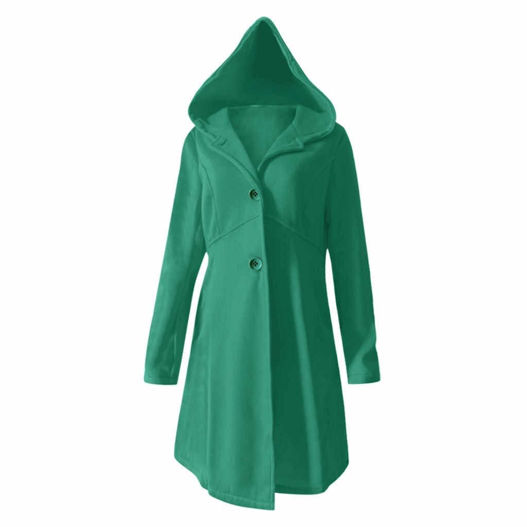 معطف شتوي أنيق للنساء موضة معطف مكتب للسيدات مع قلنسوة ملابس خارجية واحدة الصدر معاطف من الصوف فضفاضة على شكل حرف a T3