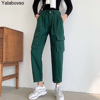 Ankle-length Trousers Safari Styles Cargo Pants Cool Women's Elastic Waist Jeans Straight With Gray Amy Green Black Pink Colors ask amy green wedding belles