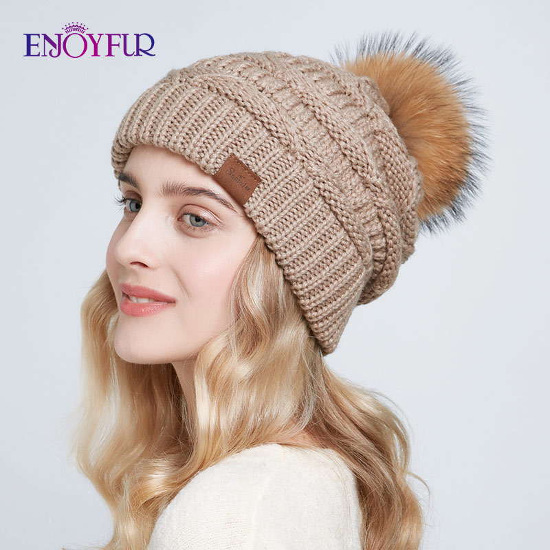ENJOYFUR Real Raccoon Fur Pompom Hats For Women Winter Warm Knit Slouchy Beanies Female Baggy Ski Caps