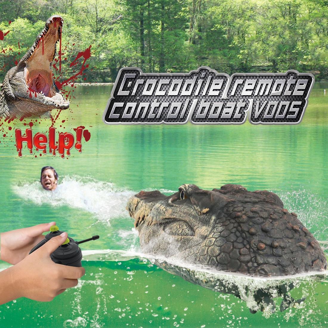 Flytec V005 радиоуправляемая лодка 2,4 г имитация головы крокодила украшение для животных бассейн забавная пародия водный гоночный катер игрушки...