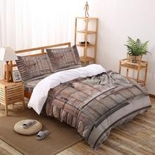 Juego de funda de edredón de puerta de grano de madera y óxido de hierro marrón con cerradura de estilo Vintage, juego de cama de 2/3/17 uds, juego de sábanas, funda para almohada