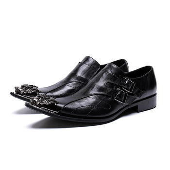 Buty Men Shoe Genuine Leather Japanese Style Pointed Steel Toe Shoes Man Loafer Full Grain Leather Cow Leather Slip-on Rubber