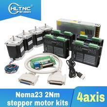 Frete grátis 4 pces tb6600 driver + 1 pces db25 breakout board + 4 pces nema23 255oz in motor de passo + 1 fonte alimentação 360w