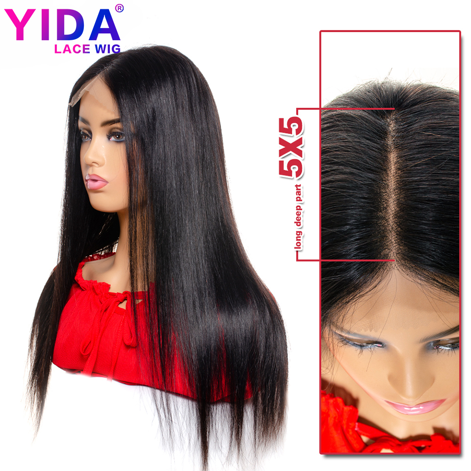 5x5 Lace Closure Wig Straight Lace Front Human Hair Wigs PrePlucked 130% Density Brazilian Remy 12