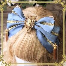 Милый ручной работы потрясающий головной убор бант ободок для головы Лолита золотые кружева кисточки сладкий дизайн