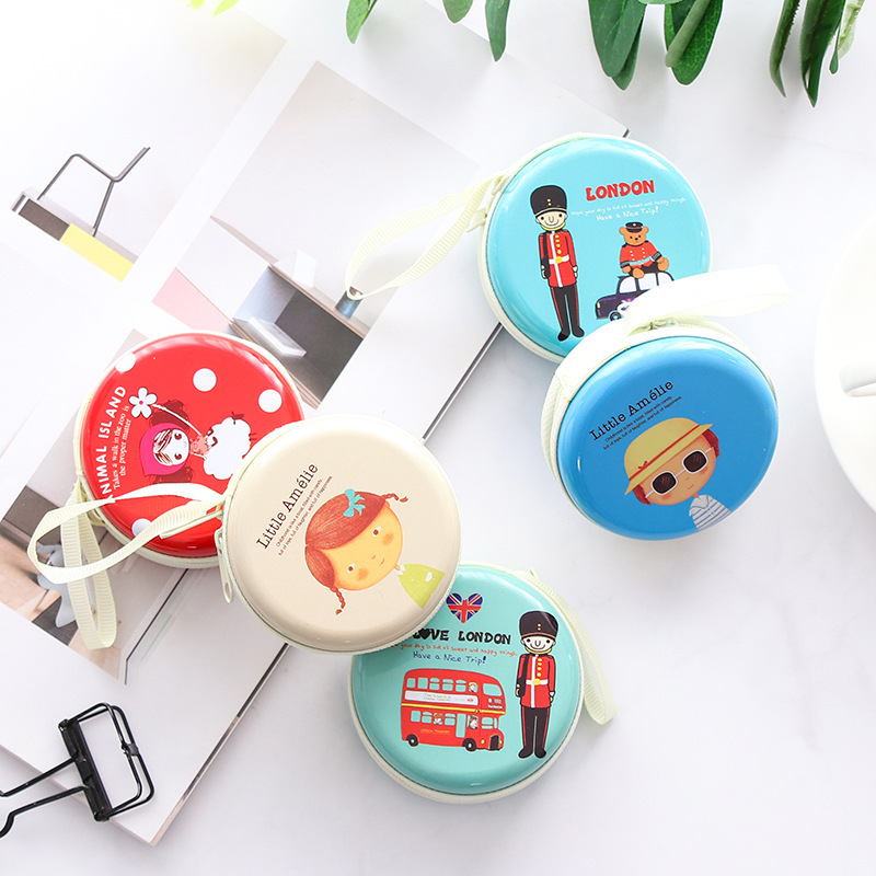 Korean-style Creative Tinplate Headset Storage Bag Cute Purse Element GIRL'S Carry-on Cool Wallet