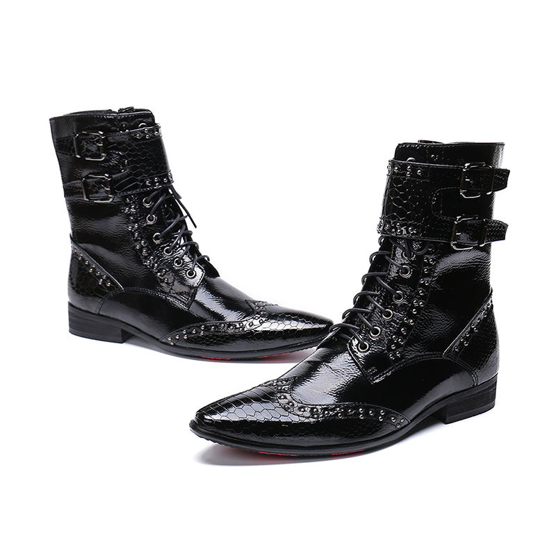 Genuine Patent Leather Boots Mens Work Hiking Chelsea Cowboy Military Leather Boots