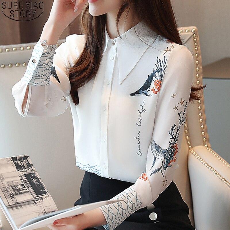 Женская блузка с длинным рукавом, белая блузка с принтом на пуговицах, шифоновая блузка с отложным воротником, 7082 50, осень 2019