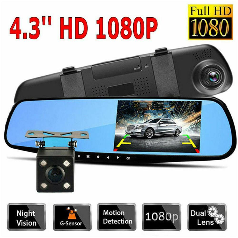 <font><b>2019</b></font> New Driving recorder camera <font><b>dash</b></font> <font><b>cam</b></font> car <font><b>mirror</b></font> dual lens rear view camera dashcam auto recorder video full front and rear image