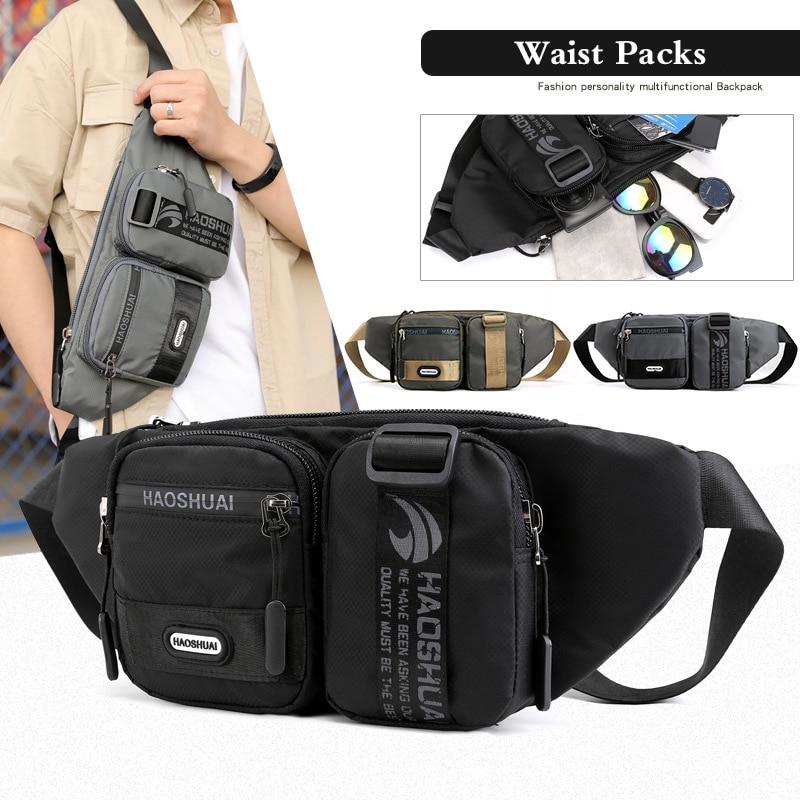 Men's Nylon Waist Bags On A Belt Kidney Banana Fanny Pack Casual Travel Waist Belt Pack 2019 Autumn New Men Pouch Chest Bag Male