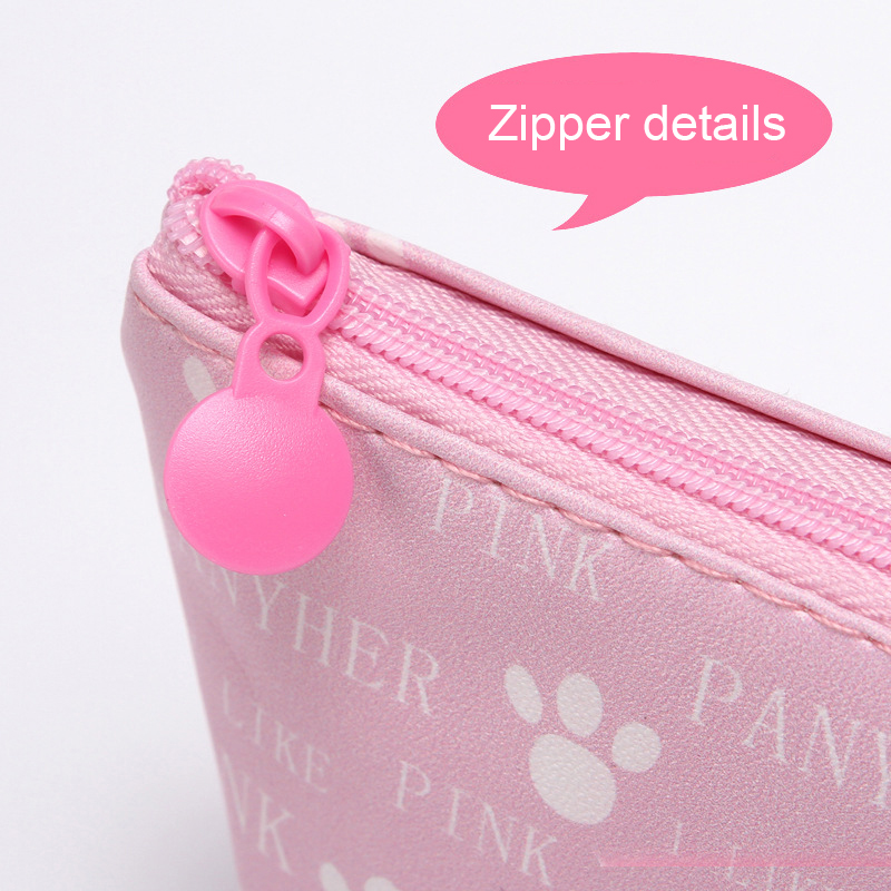 Купить с кэшбэком Cute Pink Leopard Pencil Case Cosmetic Bag Pencil Bag Waterproof PU Pen Zipper Case Pencil Pouch School Office Supply Stationery