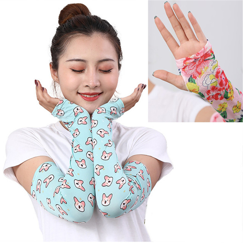 New Women Summer Cooling Arm Sleeves Cover Arms Sun Protection Sleeve Mask Mesh Ice Silk Outdoor Hiking Running Training Driving