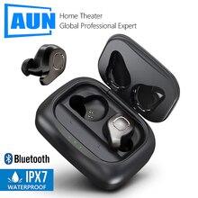 AUN Bluetooth 5.0 20 시간 충전 박스 무선 이어폰 3D 스테레오 이어폰 음성 제어 소음 차단 게임용 헤드셋 체육관