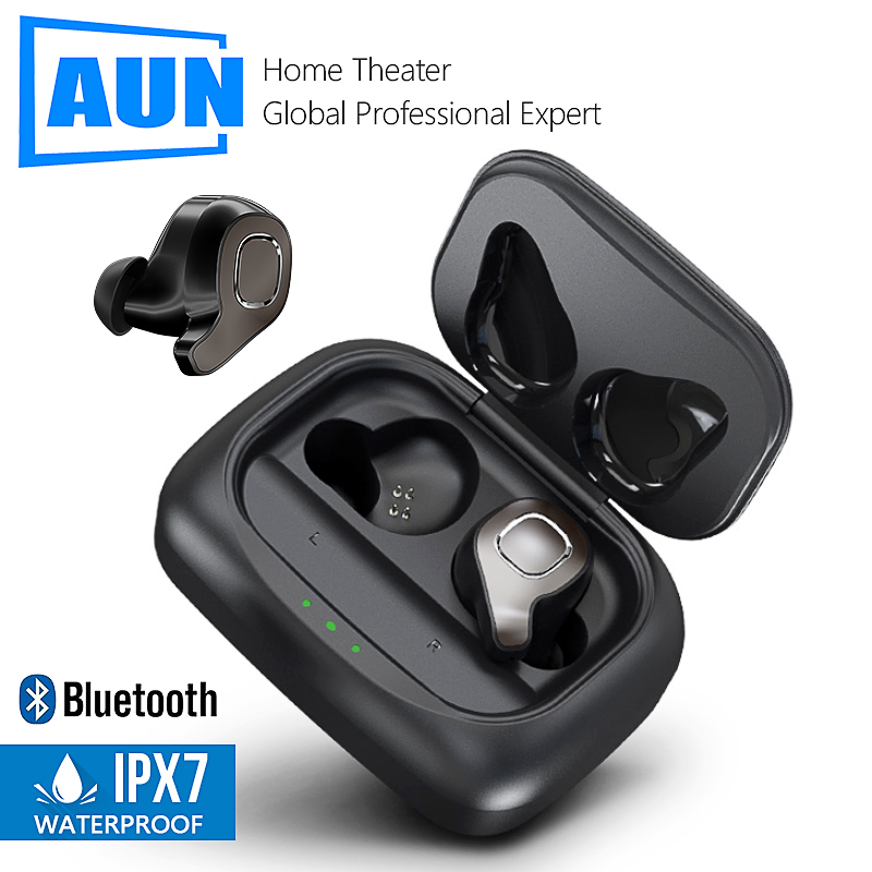 AUN F8 TWS Bluetooth 5.0 Earphone, 3D stereo wireless earphone Voice Control, Noise Cancelling Gaming Headset For iOS/Android.P