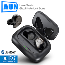 AUN auriculares inalámbricos con Bluetooth 5,0, dispositivo estéreo 3D con caja de carga de 20 horas, auricular con Control de voz, cancelación de ruido, para videojuegos y gimnasio