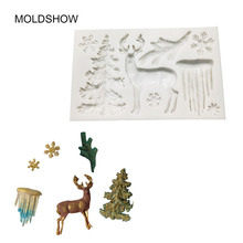 Christmas Theme Elk/Glacier/Christmas tree Fondant Cake Silicone Mold Chocolate Candy Molds Pastry Biscuits Mould Cake Baking To недорого