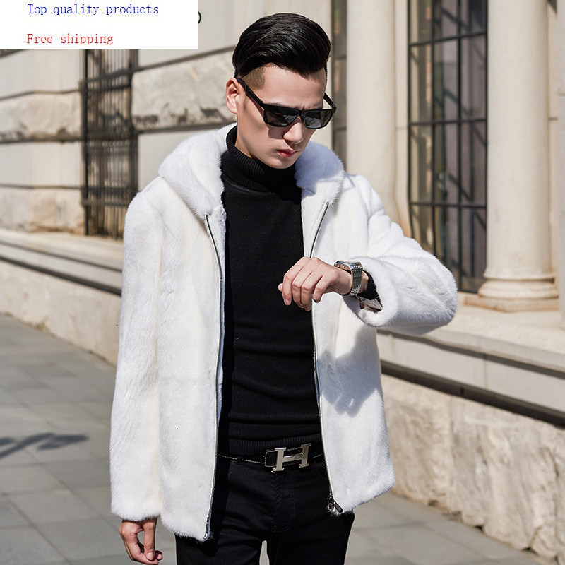 AYUSNUE 2020 Mens Mink Coat Real Fur Coat Men Winter Natural Mink Fur Jacket Hooded White Korean Jackets Coats 95005 KJ3305