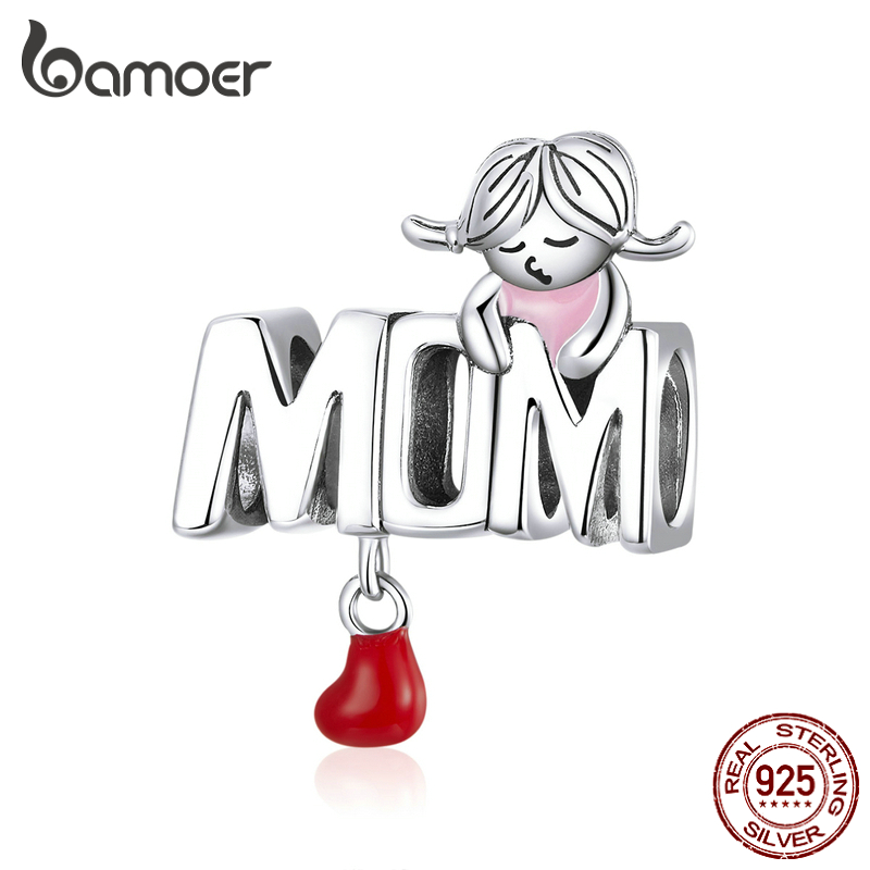 Bamoer Mother Love Genuine 925 Sterling Silver Enamel Heart MOM Metal Charm For Bracelet Bangle Fashion DIY Jewelry SCC1461