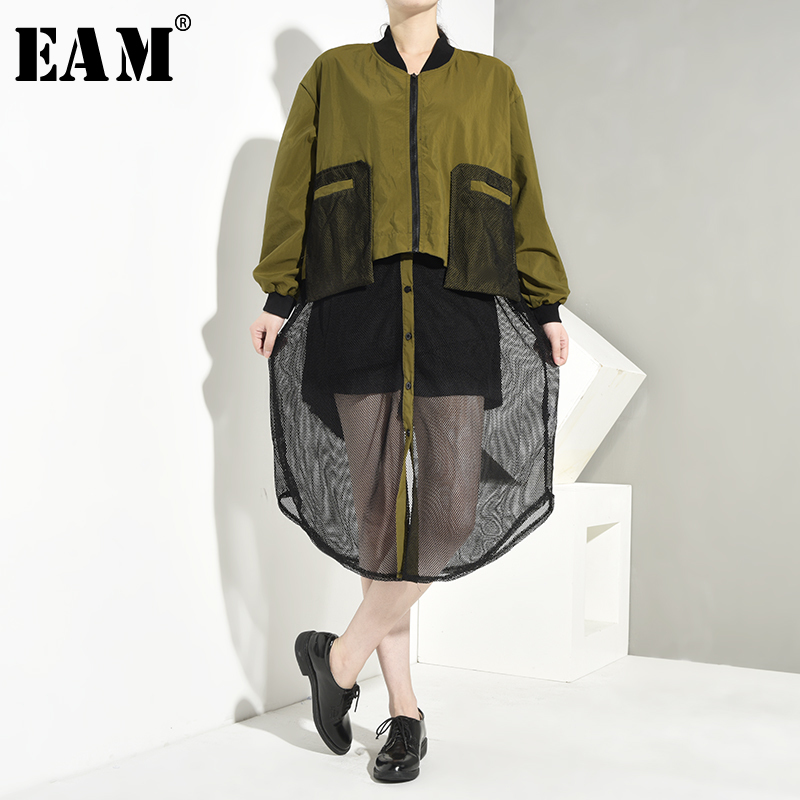 [EAM] Loose Fit Mesh Split Joint Big Size Jacket New Stand Collar Long Sleeve Women Coat Fashion Tide Spring Autumn 2020 1A116