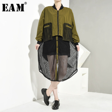 [EAM] Loose Fit Mesh Split Joint Big Size Jacket New Stand Collar Long Sleeve Women Coat Fashion Tide Autumn Winter 2019 1A116