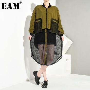 [EAM] chaqueta holgada de talla grande con cuello alto nueva de manga larga para mujer, moda Primavera otoño 2020 1A116