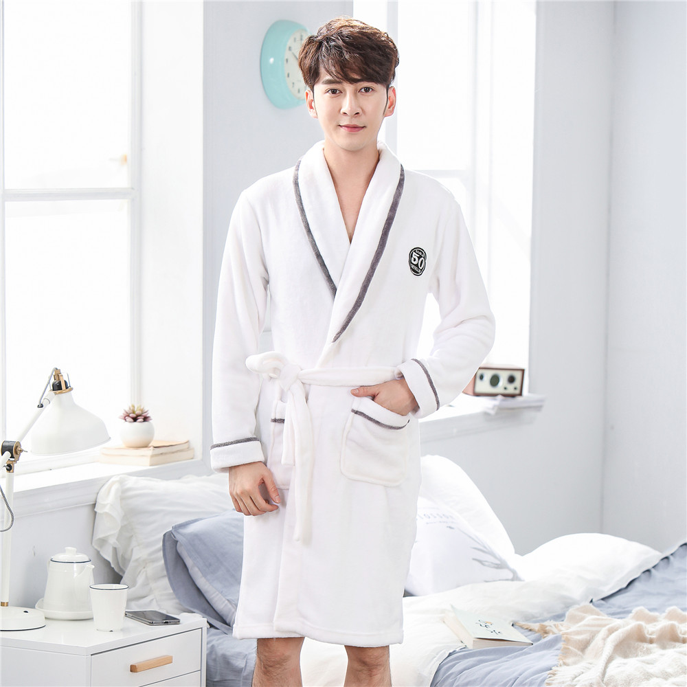 Casual Sleepwear Home Clothes Men Flannel Homewear Nightgown Coral Fleece Soft Nightwear Bathrobe With Belt Sexy Kimono Robe