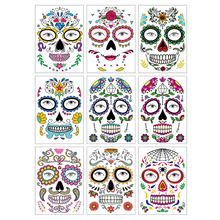 Halloween Temporary Face Art Waterproof Mask Hot Temporary Tattoo Stickers for Makeup party Sugar Skull Face Sticker