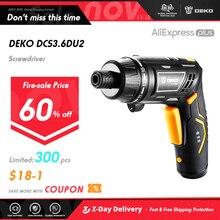 DEKO DCS3.6DU2 S1 akülü elektrikli tornavida şarj edilebilir güç tornavida ev DIY Twistable kolu kablosuz LEDTorch