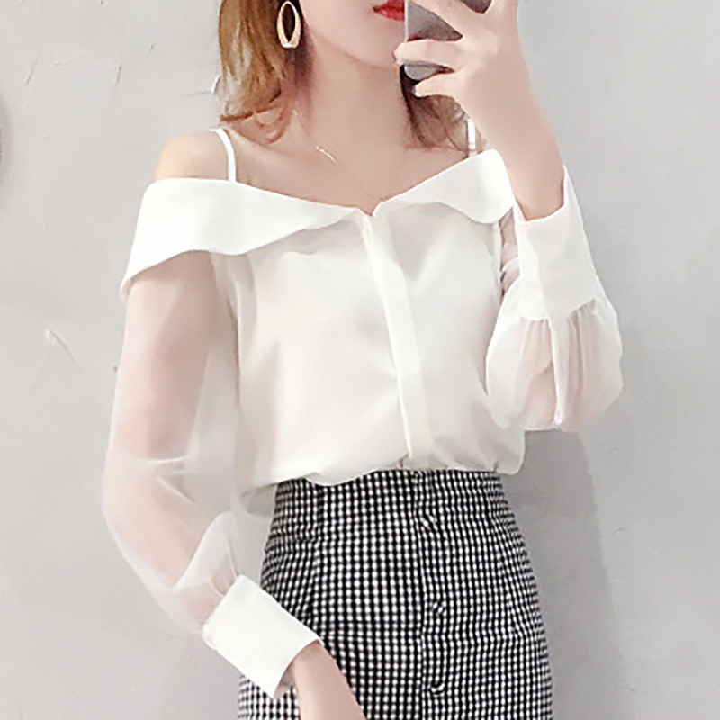 HELIAR Blouse Women Off Shoulder Spaghetti Transparent Organza Blouses Buttoned Up Adjust Straps Blouse For Women 2020 Autumn