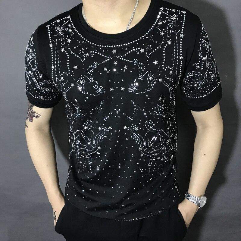 N livraison gratuite hommes strass galaxie à manches courtes noir mode t-shirt/fête/scène/bling Style