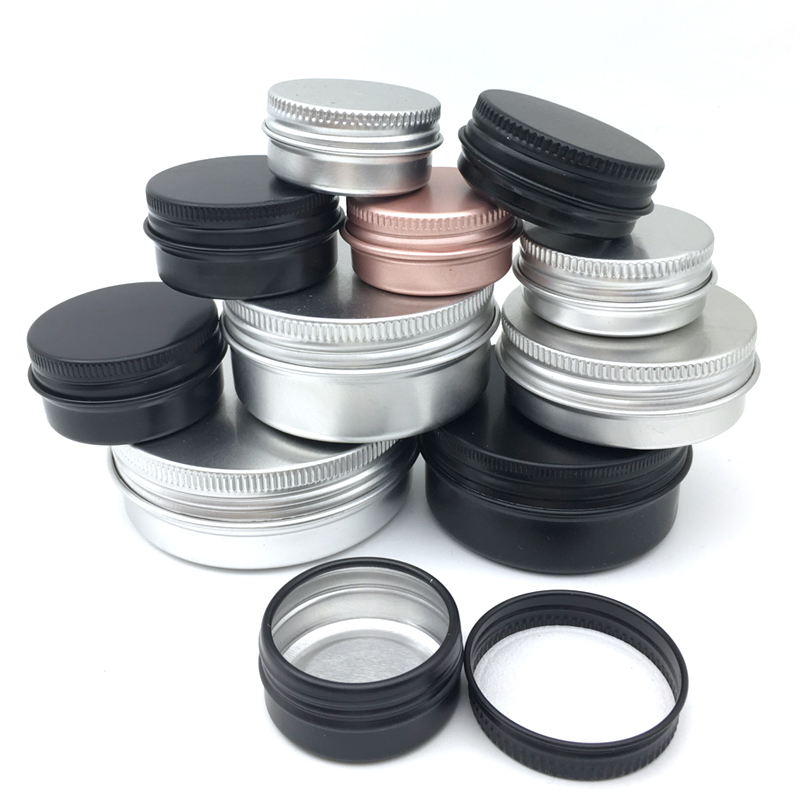 10PCS Cream Jar Tin Cosmetic Lip Balm Containers Nail Derocation Crafts Pot Refillable Bottle Screw Thread Empty Aluminum