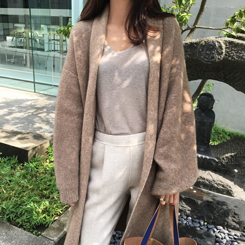 Winter Jackets 2019 Women Wool Blend Coat Ladies Loose Solid Oversize Trench Coat Female Cardigan Jackets Windbreaker Overcoat in Wool amp Blends from Women 39 s Clothing