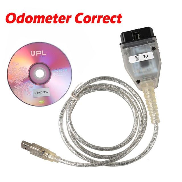 อ่านเขียนEEPROM IMMOผ่านOBD KMเครื่องมือสำหรับFord OBD2 เครื่องวัดระยะทางที่ถูกต้องและImmobilizer KeyการเขียนโปรแกรมOBD2 16PINสาย