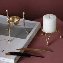 Nordic Metal Plated Crafts Home Decoration Candle Holder Ornaments Love Heart Candlestick Miniature Model Desk Decor Figurine