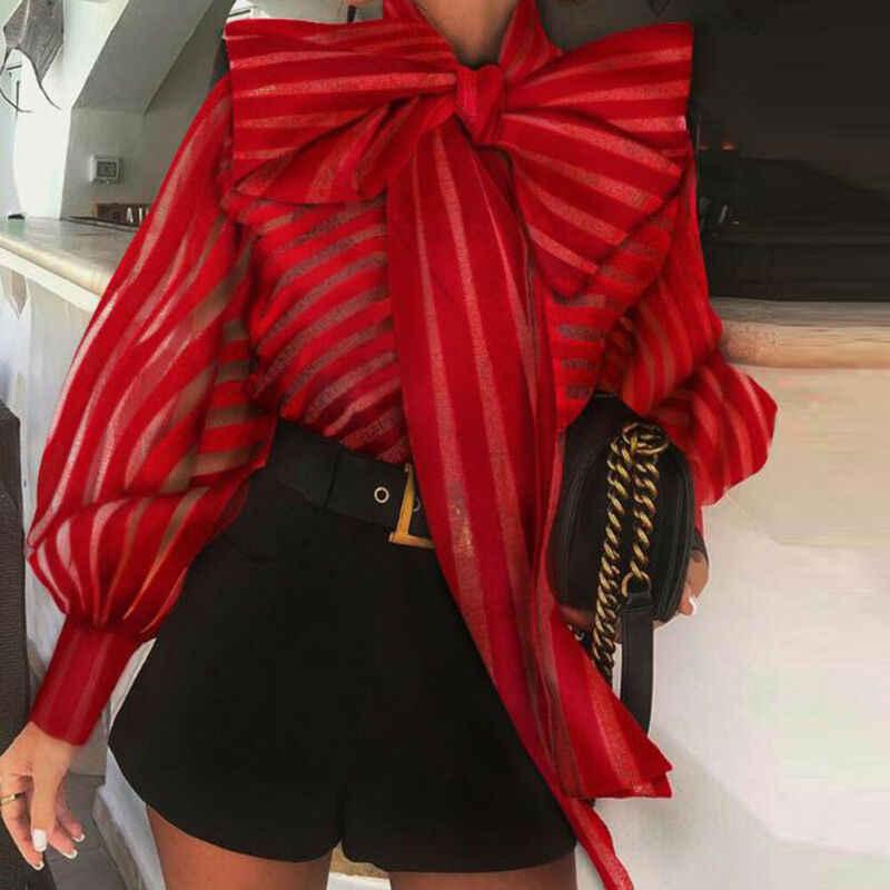 High Street ผู้หญิง Organza เสื้อใหม่ขนาดใหญ่ลายหลวมเสื้อพัฟแขน Retro Chic เสื้อผ้า Elegant หญิงเสื้อ