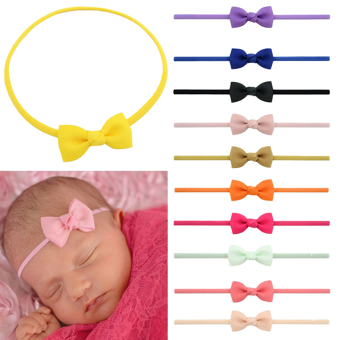 Flower Baby Headband For Girl Bows Crown Head Bands Turban Newborn Headbands Hairbands For Kids Hairband Baby Hair Accessories